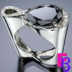 Size 9 Geometric Black CZ Infinity Ring